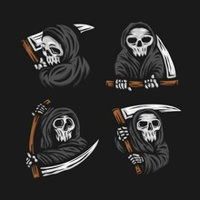 Set Of Skull Grim Reaper With The Sickle Logo. Vector Illustration