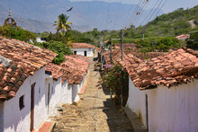 Red Tiled Roofs And Cobblestone Streets, Guane, Santander, Colombia
