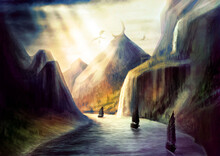 Fantasy Environment With Bright Rays Of The Sun Shining Through Dark Clouds, With Pirate Ships And Dragons Circling Around The Mountain, Natural Landscape With A Wide River, Waterfalls And High Rocks.