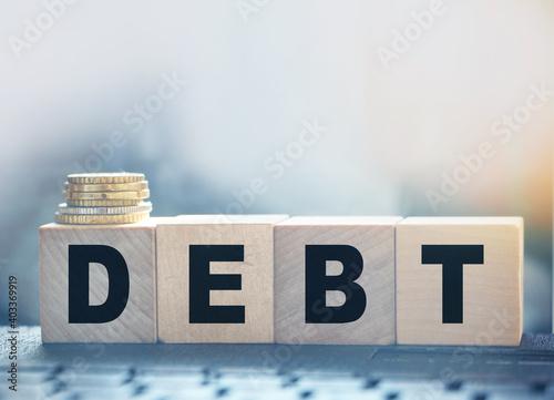 Fotografie, Obraz DEBT financial concept