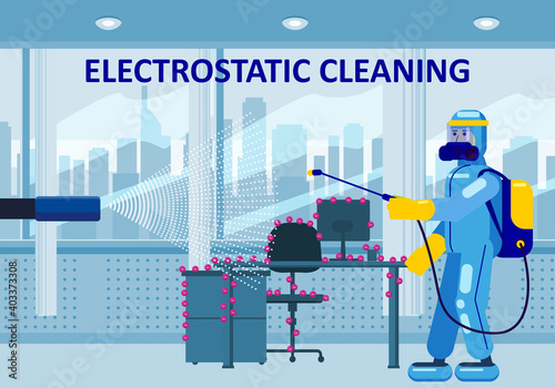Electrostatic Disinfection Cleaning service. Man dressed in uniform in a special suit with equipment with electrostatic spray conducts disinfection in the office. Vector illustration in a flat style