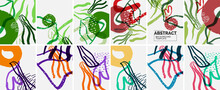 Social Media Doodle Shapes Abstract Background Set. Vector Illustration For Covers, Banners, Flyers