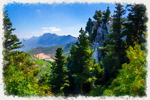 Watercolor Drawing Of Kyrenia Girne Mountain Range From Medieval Saint Hilarion Castle With Green Trees And Rocks