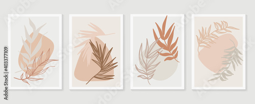 Obraz Botanical wall art vector set. Earth tone boho foliage line art drawing with  abstract shape.  Abstract Plant Art design for wall framed prints, canvas prints, poster, home decor, cover, wallpaper. - fototapety do salonu