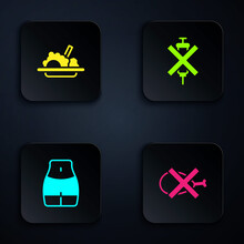 Set No Meat, Healthy Food, Women Waist And Doping Syringe. Black Square Button. Vector.