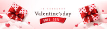 Valentine's Day Sale Poster Or Banner Red Backgroud With Gift Box And Heart