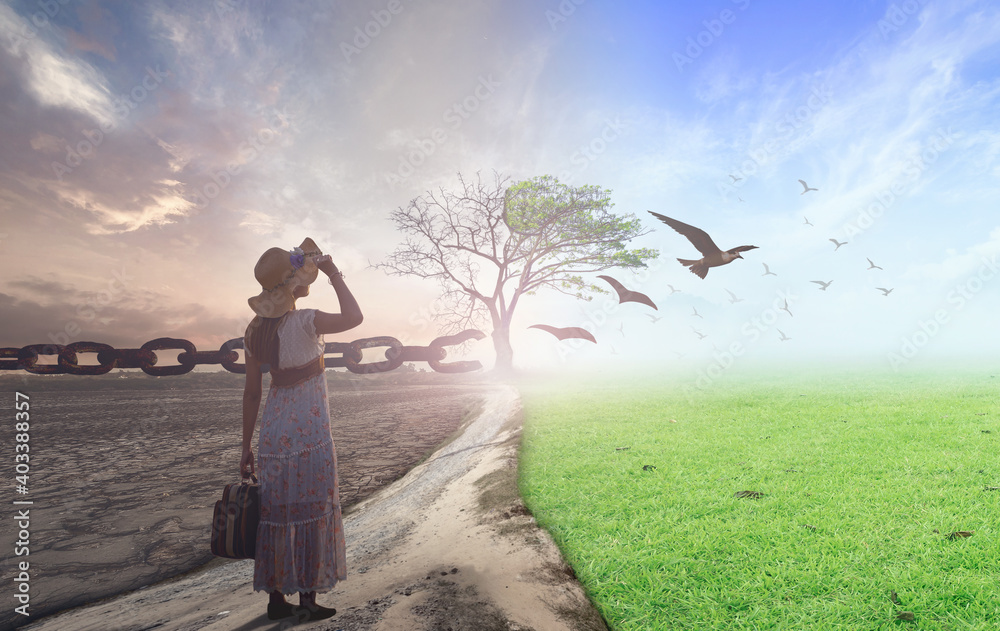 Obraz New normal concept: Woman standing between climate worsened with good atmosphere and birds fototapeta, plakat