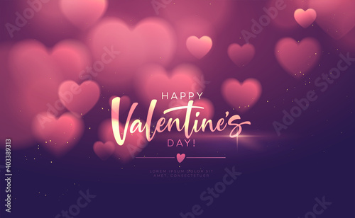 Fotografie, Obraz Bokeh Blurred Heart Shape Shiny Luxurious Background for Valentines Day congratulations