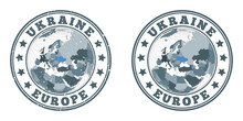 Ukraine Round Logos. Circular Badges Of Country With Map Of Ukraine In World Context. Plain And Textured Country Stamps. Vector Illustration.