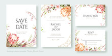 Wedding Invitation, Save The Date, Thank You, Rsvp Card Design Template. Vector. Protea Flower And Cherry Blossom.
