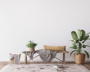 mock up wall in boho  interior background, wooden living room design, Scandinavian style, 3d render