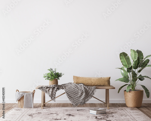 mock up wall in boho  interior background, wooden living room design, Scandinavi Wallpaper Mural