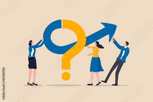 Teamwork to solve business problem, cooperation or collaboration in company to achieve business success concept, businessmen and women, colleagues help put solution arrow on question mark problem sign - fototapety na wymiar