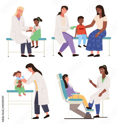 Fototapeta Set of illustrations on the topic of consultation with doctor. Children at appointment in the hospital isolated on white background. Pediatrician examines the patient. Physician helps treat people obraz na płótnie