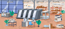 Printing House Facility Offset Production Line Industrial Equipment Isometric Composition Vector Illustration. Computerized Large Format Digital Press Machines, Modern Typography Or Print Office