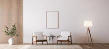 Living Room Design With Empty Frame Mockup, Two Wooden Chairs On White Wall