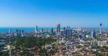 View Of The Colombo City Skyline With Modern Architecture Buildings Including The Lotus Towers.