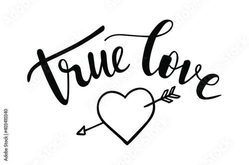 Cuadros en Lienzo True love hand lettering with a doodle heart