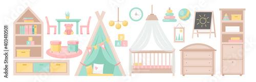 Baby bedroom furniture, children room interior set, child nursery furnishings collection