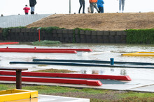 Putt Putt Course Or Mini Golf Course Flooded With Rain Water Concept Winter Weather And Climate