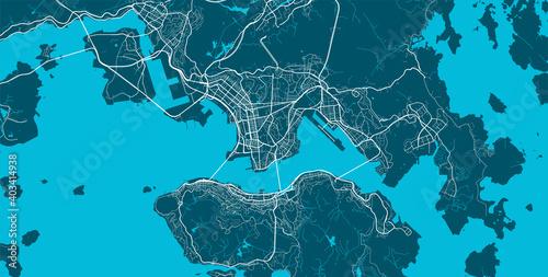 Fotografia Detailed map of Hong Kong city, linear print map