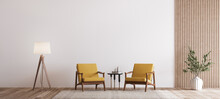 Living Room Design With Empty Wall Mockup, Two Wooden Chairs On White Wall, Copy Space