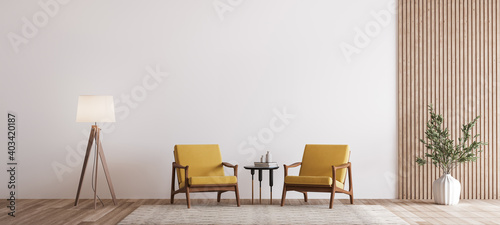 Fototapeta Living room design with empty wall mockup, two wooden chairs on white wall, copy space obraz