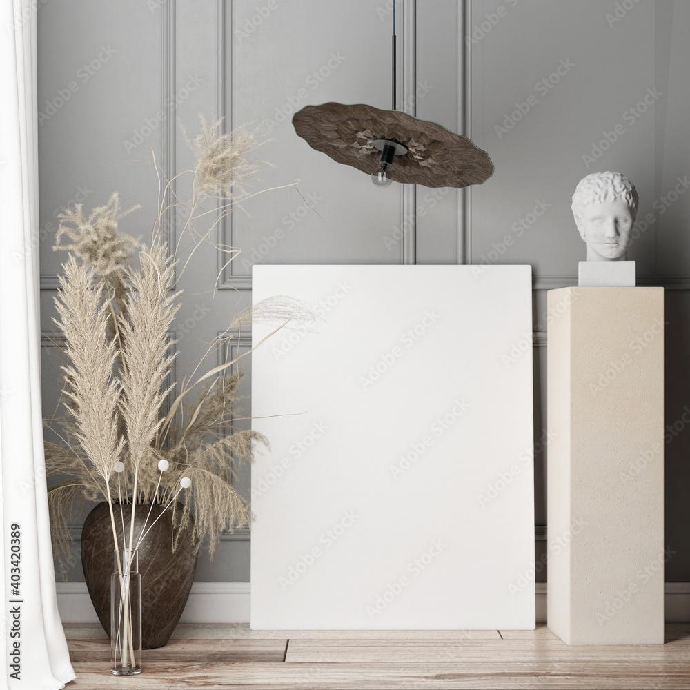 Fototapeta Mockup poster for presentation, Living room Scandinavian design with home decoration, Gray background, 3d render, 3d illustration.
