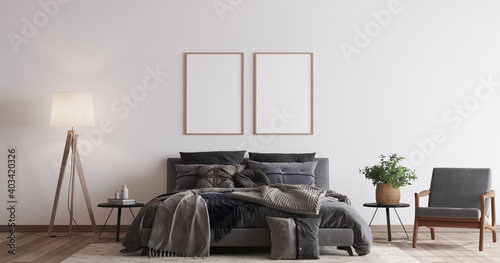 Comfortable bedroom with two wooden frame mockup design, dark bed on white wall background