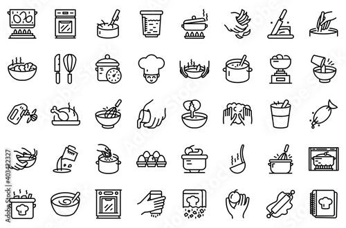 Tela Hands preparing foods icons set