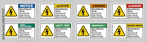 Fotografie, Obraz Risk of electric shock Symbol Sign Isolate on White Background