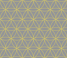 Illuminating Yellow And Ultimate Gray Abstract Geometric Vector Seamless Pattern. Yellow Crossing Circles On Gray Background. Abstract Floral Pattern In Arabic Style. Simple Design For Print And Web
