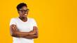 Leinwandbild Motiv Happy Overweight African American Woman Posing Over Yellow Background, Panorama