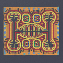 Layered Mola Pattern Fabric - Scrappy Sewing Of Indians. National Pattern Of The Ornament. Traditional Ethnic Texture Design. 3D-rendering