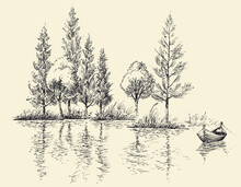 Small Boat On Calm Water, Lake Drawing, Sketched Border Of Trees In The Background