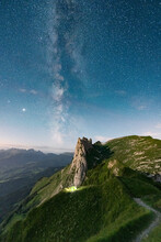 Milky Way In The Starry Sky Over Saxer Lucke Mountain, Aerial View, Appenzell Canton, Alpstein Range, Switzerland, Europe