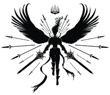 Silhouette Of A Girl Angel Warrior With Huge Wings, And Two Swords In Each Hand, Her Hair Soaring Up, She Is Surrounded By A Necklace Of Levitating Spears Ready To Hit Her Enemies . 2d Illustration