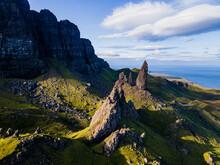 Aerial Of The Storr Pinnacle, Isle Of Skye, Inner Hebrides, Scotland, United Kingdom, Europe