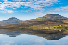 Water Reflections On Lake Dunvegan, Isle Of Skye, Inner Hebrides, Scotland, United Kingdom, Europe