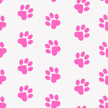 Paws Of A Cat, Dog, Puppy. Seamless Pink Animal Footprint Pattern For Bedding, Fabrics, Backgrounds, Websites, Postcards, Baby Prints, Wrapping Paper. Vector Graphics.