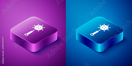 Papel de parede Isometric Medieval chained mace ball icon isolated on blue and purple background