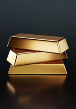 Three Gold Ingots Stack Isolate Is On Dark Background 3D Rendering