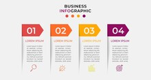 Minimal Business Infographics Template. Timeline With 4 Four Steps, Options And Marketing Icons .Vector Linear Infographic With Two Circle Conected Elements. Can Be Use For Presentation. Eps10 Vector