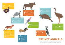 Global Environmental Problems. Biodiversiry Loss Infographic. Extinct Animal And Birds