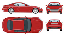 Red Sports Car Vector Template With Simple Colors Without Gradients And Effects. View From Side, Front, Back, And Top