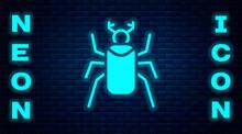 Glowing Neon Beetle Bug Icon Isolated On Brick Wall Background. Vector.