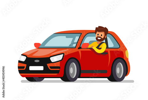 man driving red new car