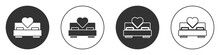 Black Bedroom Icon Isolated On White Background. Wedding, Love, Marriage Symbol. Bedroom Creative Icon From Honeymoon Collection. Circle Button. Vector.