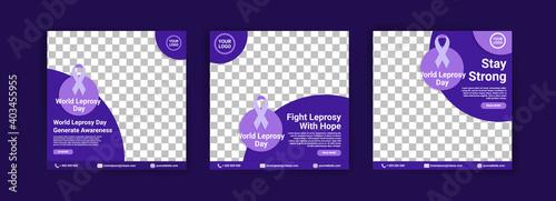 Photo Social media templates for world leprosy day