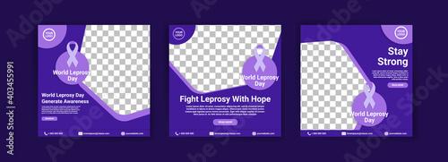 Fototapeta Social media templates for world leprosy day